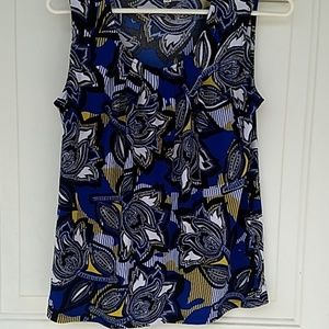 Blue multi short sleeve blouse size small
